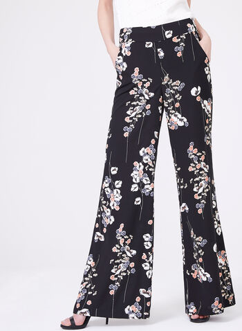 Frank Lyman - Floral Wide Leg Pants , Black, hi-res