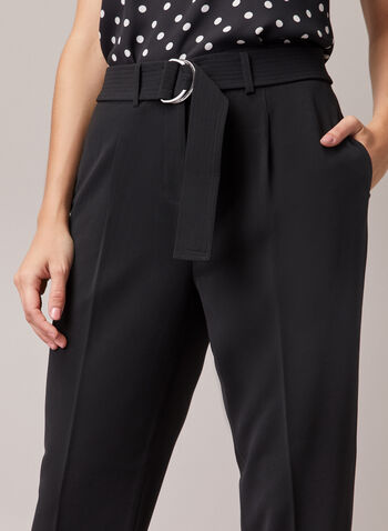 Belted Ankle Length Pants, Black,  pants, belt, pleats, pockets, high rise, spring summer 2020