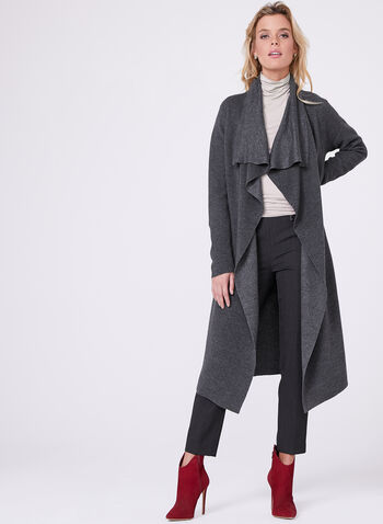 Ottoman Knit Cascading Front Cardigan  , , hi-res