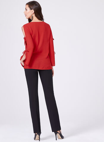 Lily Moss - Split Sleeve Tie Detail Blouse, Red, hi-res