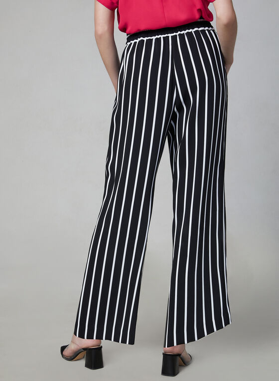 Stripe Print Wide Leg Pants, White