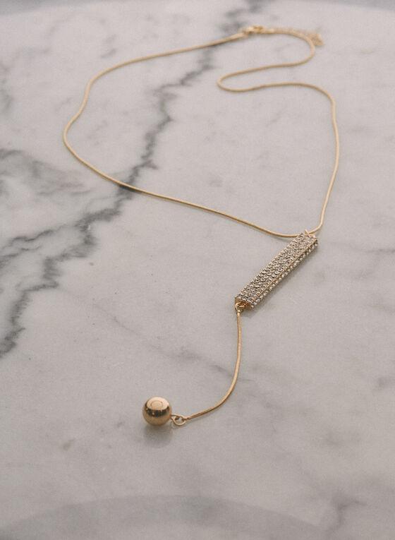 Collier à cristaux et bille dorée , Or