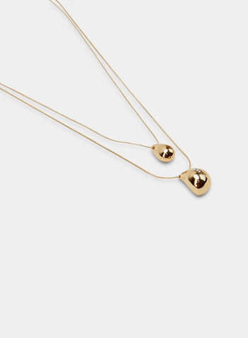 Double Chain Pendant Necklace, Gold, hi-res
