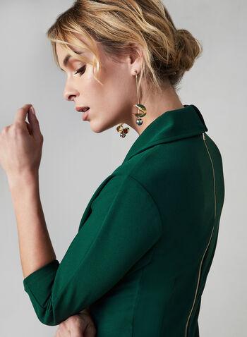 Maggy London - Robe cache-coeur plissée, Vert, hi-res,  Maggy London, robe de jour, coupe midi, encolure cache-coeur, fermeture au dos, automne hiver 2019