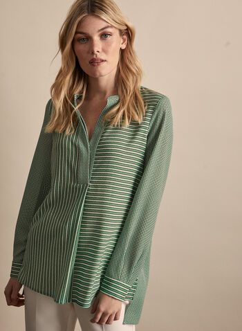 Geometric Print Long Sleeve Blouse, Green,  top, blouse v-neck, geometric, crepe, pleated long sleeves, spring summer 2020