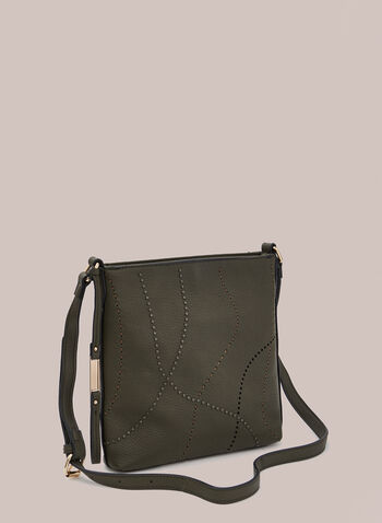 Square Crossbody Bag, Green,  handbag, crossbody, faux leather, metallic, topstitch, square, fall winter 2020