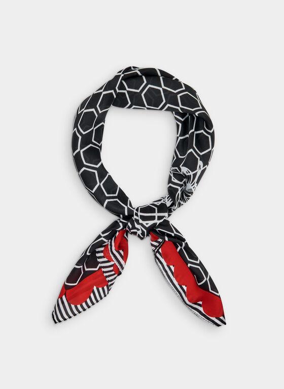 Foulard à imprimé géométrique et motif floral, Rouge, hi-res