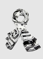 Mixed Print Scarf, Black, hi-res