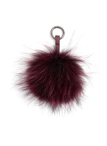 Fur Pom Pom Keychain, Red, hi-res