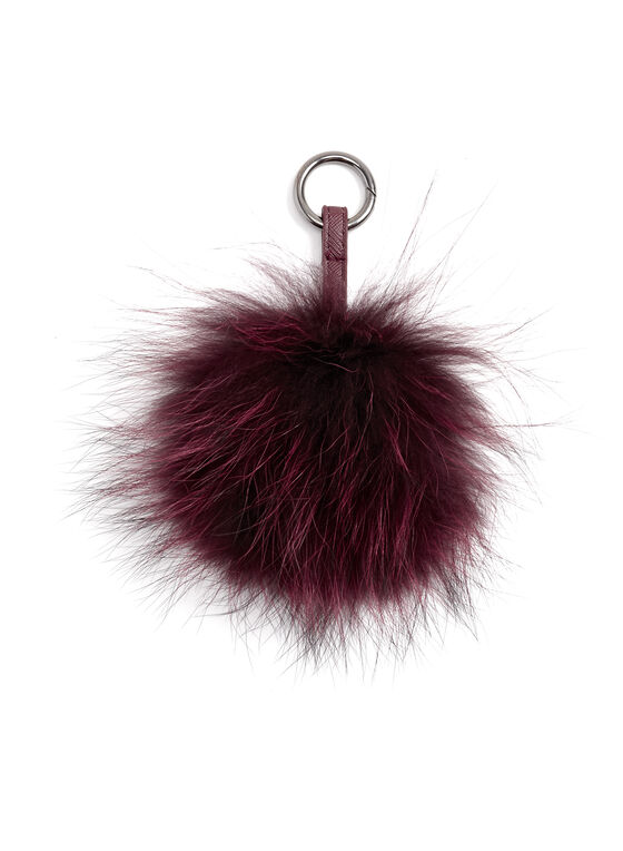 Fur Pom Pom Keychain, Red, hi-res