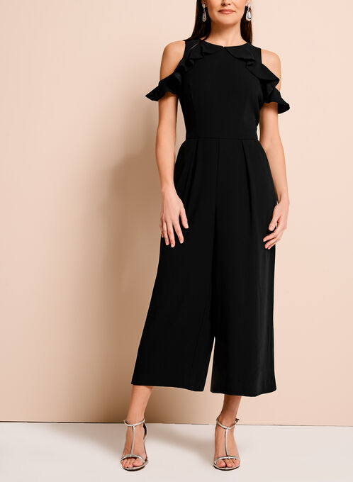 Ruffle Trim Cold Shoulder Jumpsuit, Black, hi-res