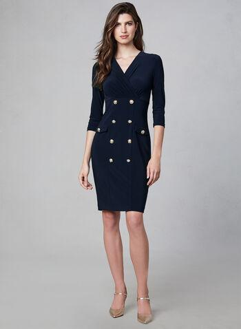 Joseph Ribkoff - Military Button Dress, Blue, hi-res,