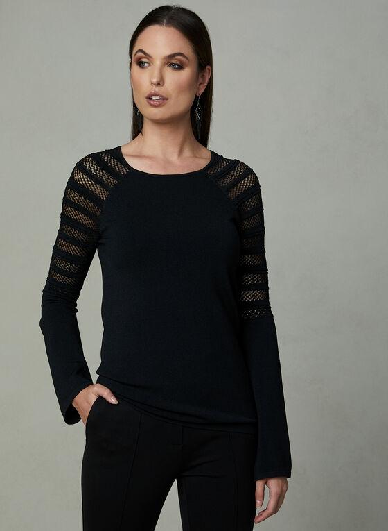 Pull à manches longues en tricot pointelle, Noir, hi-res
