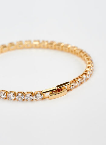 Faceted Crystal Bracelet, Gold, hi-res