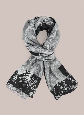 Mixed Floral Print Lightweight Scarf, Black,  scarf, lightweight, floral, fall winter 2020