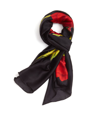 Rose Print Oblong Scarf, Black, hi-res
