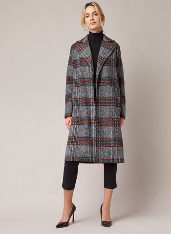 Manteau long à motif carreaux, Gris,  manteau, long, tartan, aspect laine, automne hiver 2020