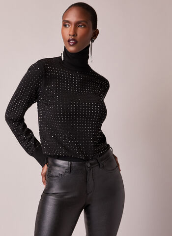 Studded Turtleneck Sweater, Black,  fall winter 2020, sweater, knit, stud detail, studded, turtleneck, long sleeve, warm, winter, comfort, stretch