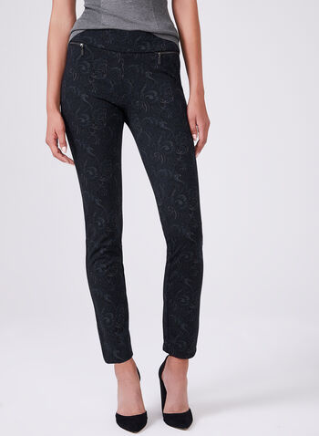 Madison Paisley Print Pants	, Black, hi-res