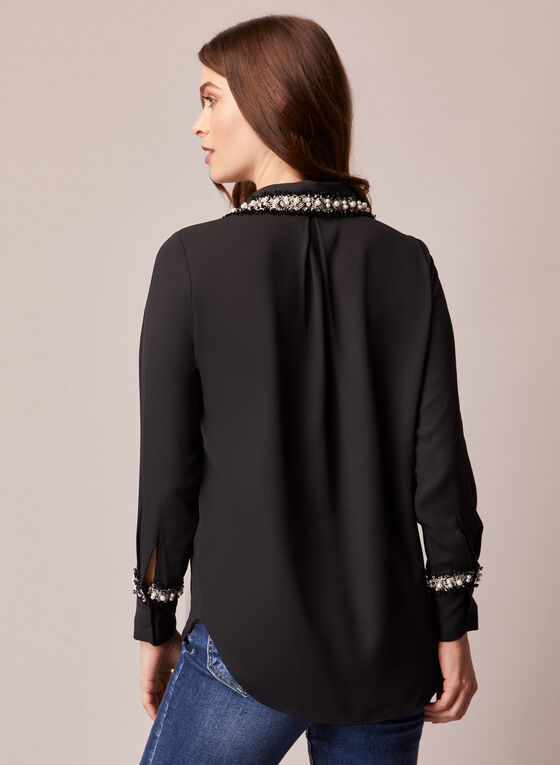 Pearl Detail Button Front Blouse, Black
