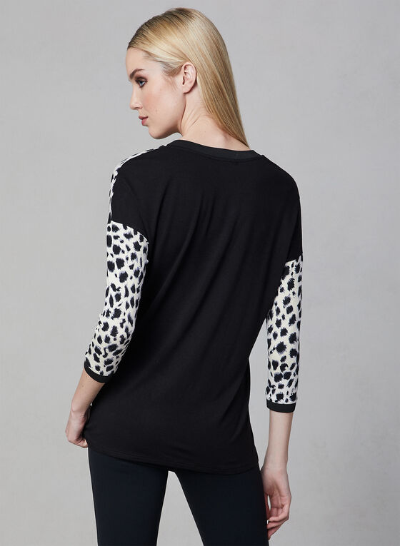 ¾ Sleeve Animal Print Top, White, hi-res