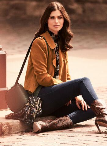 Veste style perfecto en faux suède, Brun,  automne hiver 2020, veste, perfecto, suède, zips, glissières, poches, motard