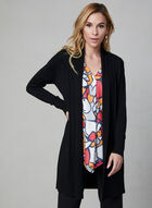 Long cardigan en tricot, Noir, hi-res