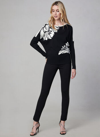 Floral Print Sweater, Black, hi-res,  long sleeves, placed floral print, crystals, ribbed, stretchy, knit
