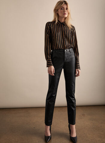 Slim Leg Faux Leather Pants, Black,  pants, slim leg, leather, mid rise. pockets, crocodile motif, fall 2019, winter 2019