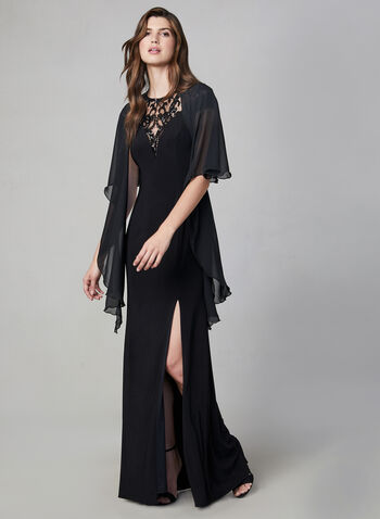 Chiffon Horseshoe Shawl, Black,