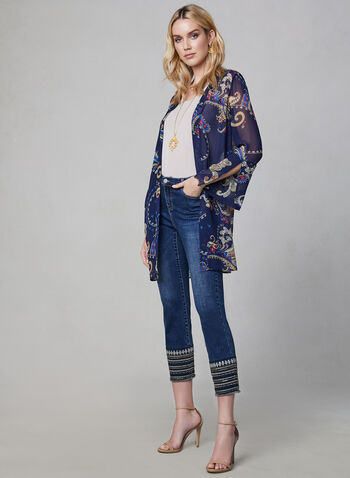 Paisley Print Chiffon Duster, Blue, hi-res,  spring 2019, chiffon, sheer, long sleeves