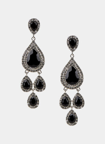 Faceted Crystal Dangle Earrings, Black, hi-res