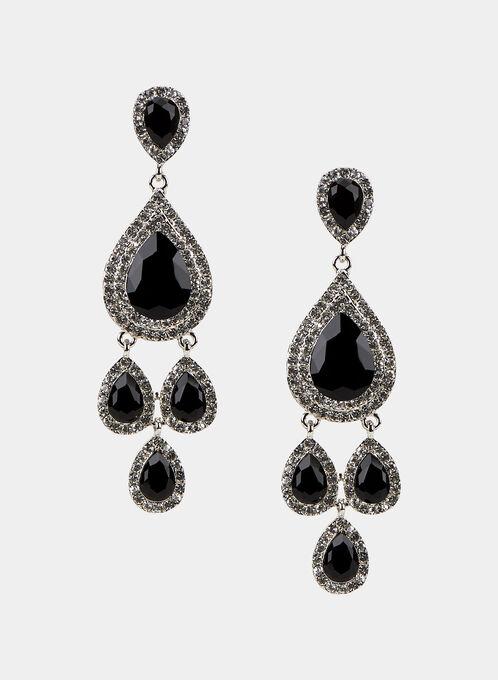 Faceted Crystal Dangle Earrings, Black, hi-res