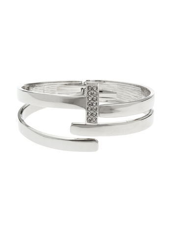 Crystal Cutout Hinge Bangle, Silver, hi-res