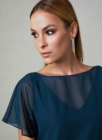 Adrianna Papell - Robe asymétrique à effet nœud, Bleu, hi-res