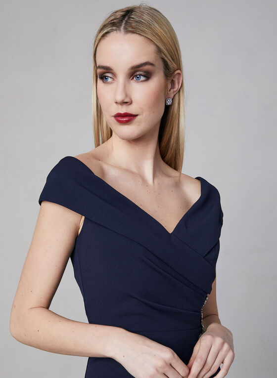 Alex Evenings - Off The Shoulder Gown, Blue, hi-res