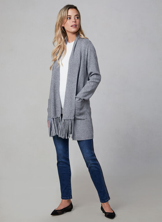 Open Front Fringe Cardigan, Grey