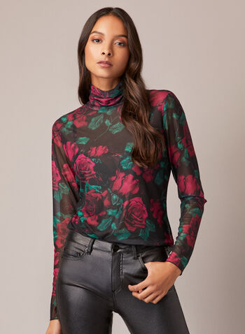 Rose Print Mesh Top, Black,  fall winter 2020, top, mesh, floral print, flower, sheer, long sleeve