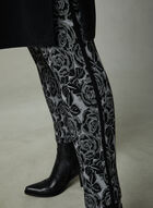 Pantalon pull-on à jambe étroite et motif fleurs, Noir, hi-res
