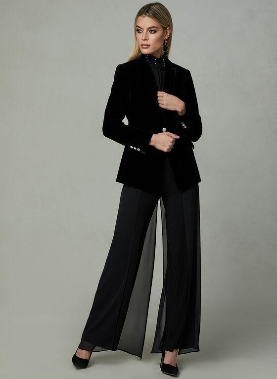 Pantalon à jambe large et maille filet, Noir