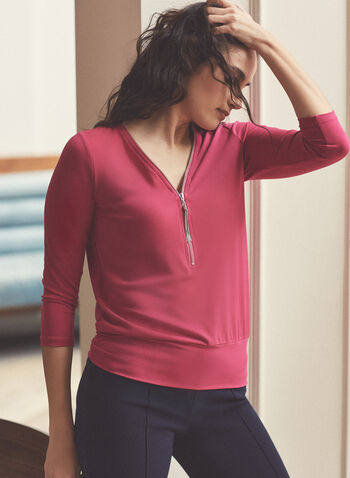 3/4 Sleeve Zipper Collar Top, Pink,  top, zipper collar, 3/4 sleeves, tassel, v-neck, crepe, spring summer 2021
