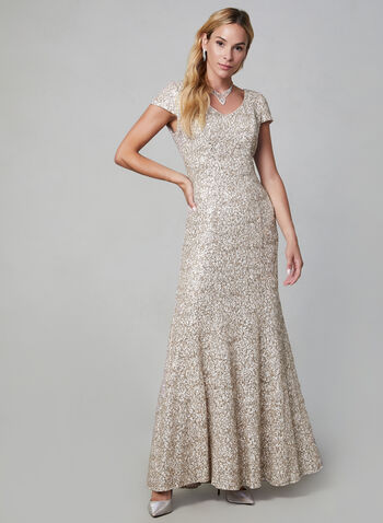 Alex Evenings - Long Sequin Dress, Off White, hi-res,  evening dress, sequin, extended sleeves, slim fit, flare, fall 2019, winter 2019