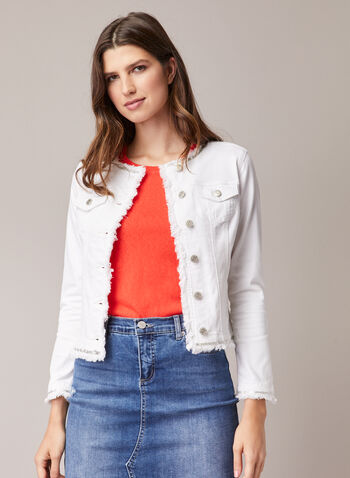 Metallic Trim Denim Jacket, White,  jacket, jean jacket, jean, denim, denim jacket, metallic, fringes, spring jacket, spring 2020, summer 2020