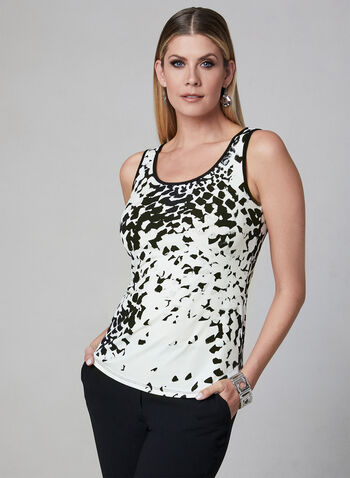 Abstract Print Sleeveless Top, White, hi-res