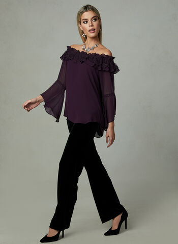 Frank Lyman - Off-The-Shoulder Blouse, Purple, hi-res