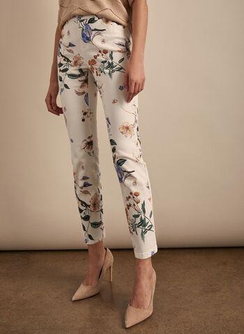 Floral Print Slim Leg Jeans, White,  spring summer 2020, 5-pocket style, floral print,