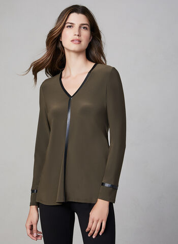 Joseph Ribkoff - V-Neck Top, Green, hi-res,  Canada, Joseph Ribkoff, V-neck, jersey, long sleeves, faux leather, fall 2019, winter 2019