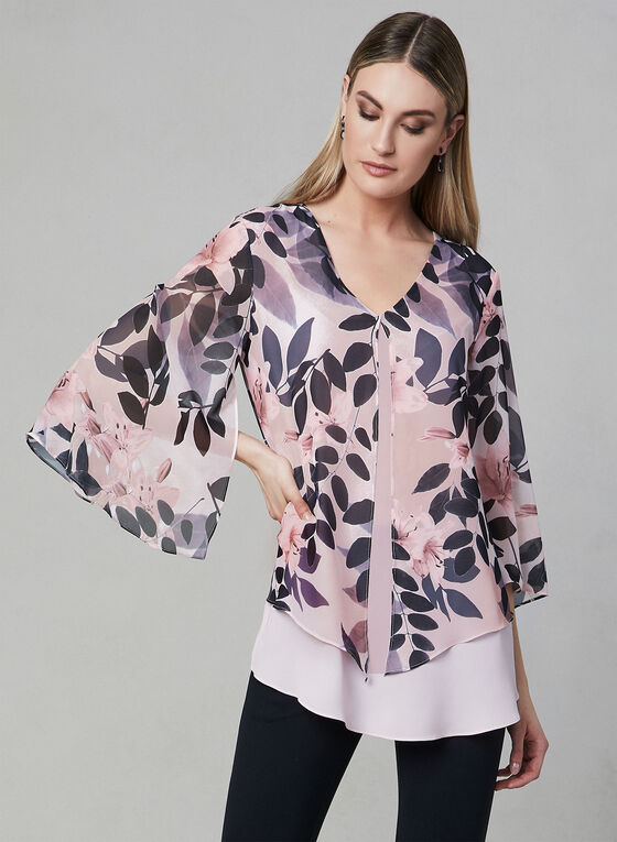 Floral Print ¾ Sleeve Top, Multi, hi-res