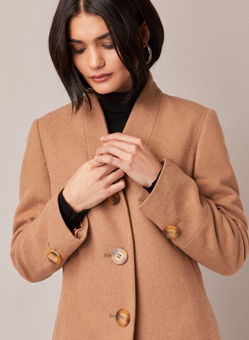 Mid Length Wool Blend Coat, Brown,  fall winter 2020, coat, mid-length, mid length, wool blend, v neck, stand collar, long sleeve, warm, button, lined, pocket, winter