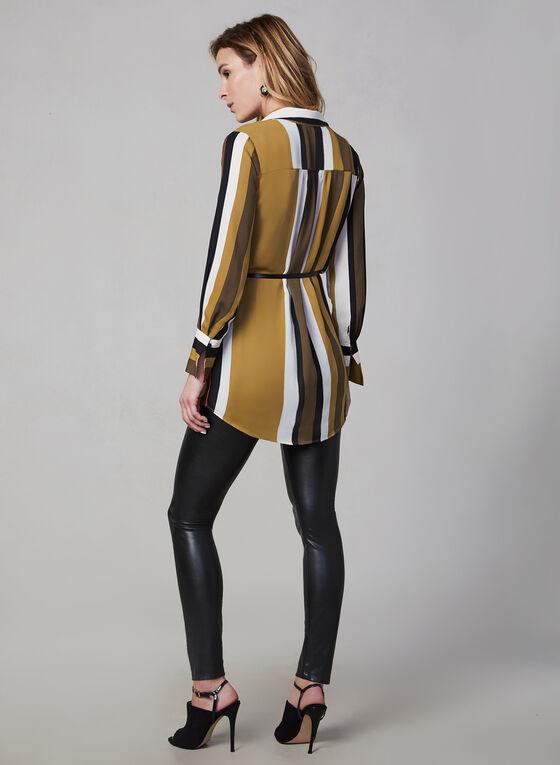 Stripe Print Tunic Blouse, Brown
